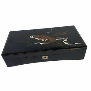 Vintage Lacquered Jewelry Box Hawk in Tree Black Japan No Key
